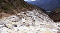 Tucked away in a deep canyon in Peru's Sacred Valleyare the Maras salt flats (Salineras de Maras). Only about 25 miles (40 km) north of Cuzco, the only access to the area is via a treacherous dirt roadway…without any guardrails! If you can white-knuckle the trip down however, it's well...