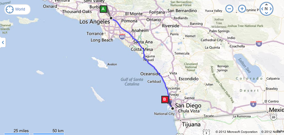 What is the mileage between Los Angeles and San Diego?